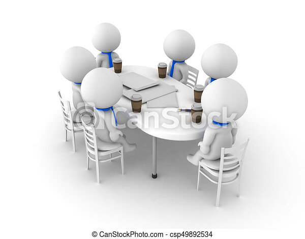 3d illustration of a group working at a table the table their working at is messy conveying the. Black Bedroom Furniture Sets. Home Design Ideas