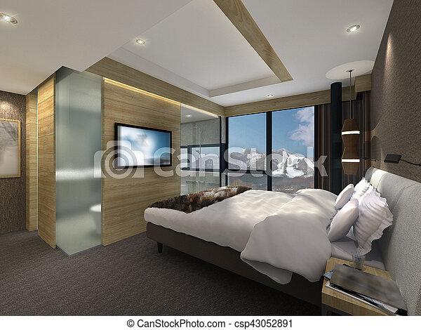 3D illustration of a modern bedroom - csp43052891