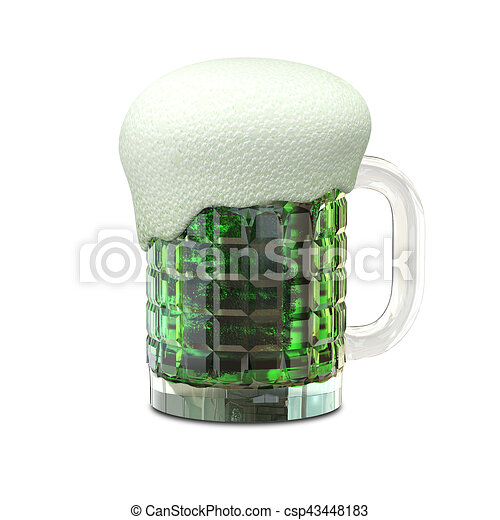 3D Illustration of a Mug with Beer - csp43448183