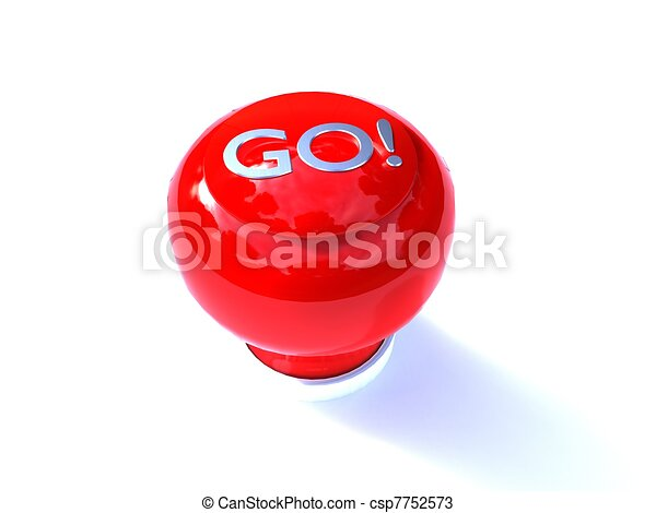 3d Illustration Of A Red Buzzer Button Go Written On White Background