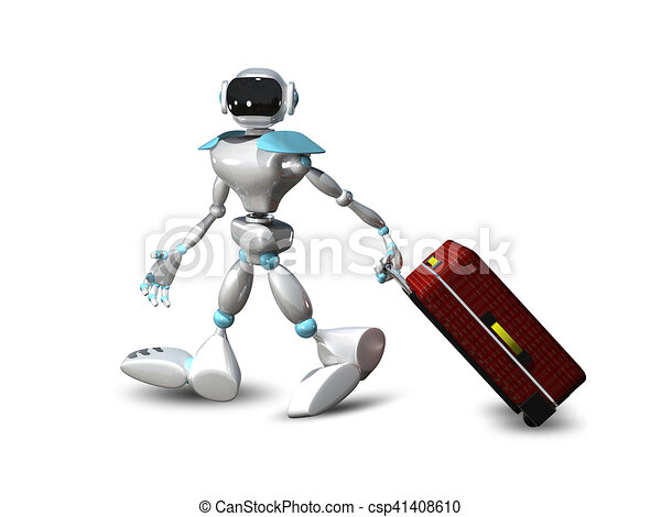 3D Illustration of a Robot with a Suitcase - csp41408610