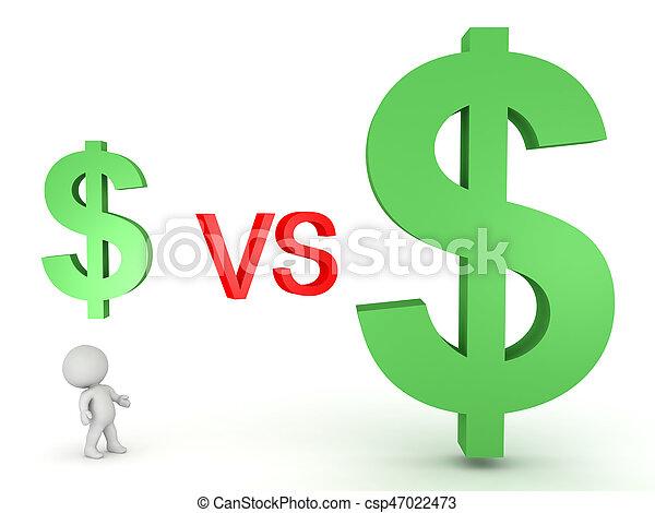 3D Illustration of a small dollar symbol versus a big dollar symbol - csp47022473