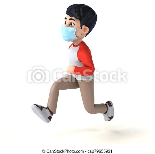 3D Illustration of a teenager with a mask - csp79655931