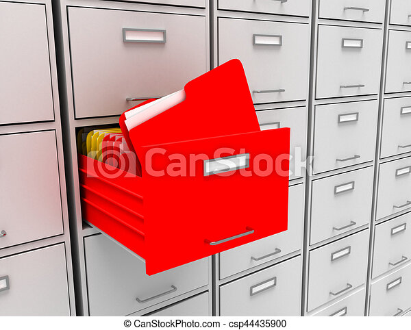 3d illustration of archive with folder - csp44435900