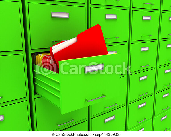 3d illustration of archive with folder - csp44435902