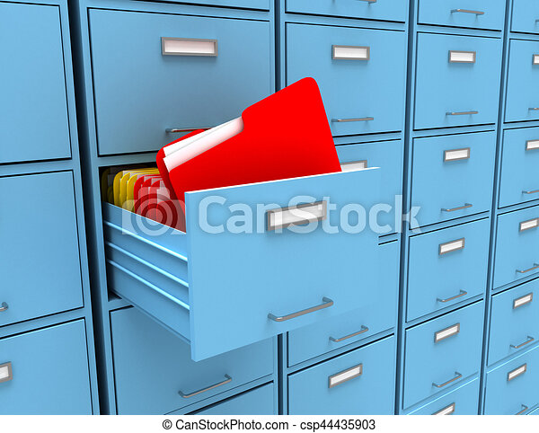 3d illustration of archive with folder - csp44435903