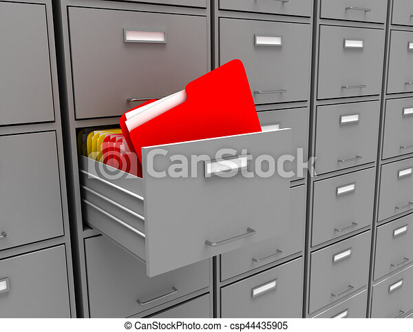 3d illustration of archive with folder - csp44435905