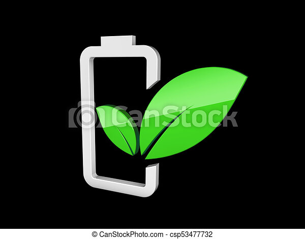 3d illustration of Battery with green leaf - eco energy concept. isolated Black. - csp53477732