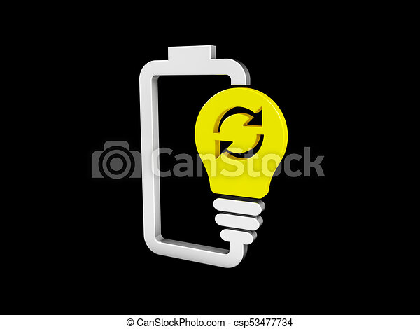 3d illustration of Battery with yellow lightbulb - eco energy concept. isolated black - csp53477734
