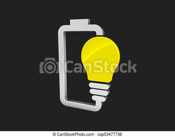 3d illustration of Battery with yellow lightbulb - eco energy concept. isolated black - csp53477736