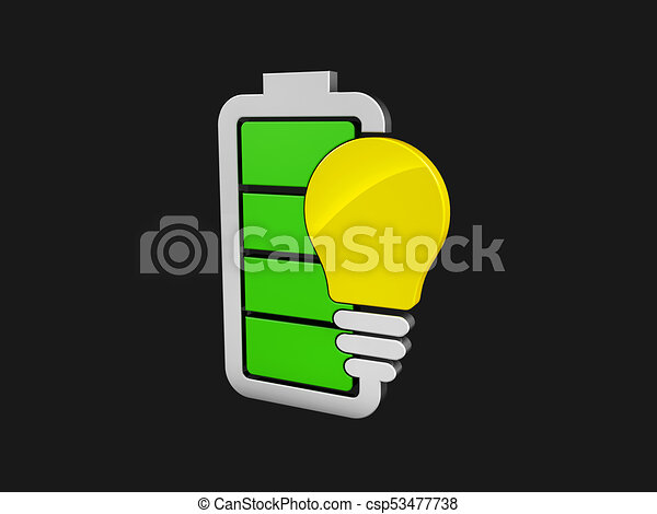 3d illustration of Battery with yellow lightbulb - eco energy concept. isolated black - csp53477738