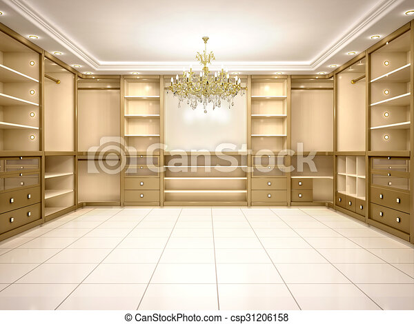 3d illustration of Big empty walk in wardrobe in luxurious house - csp31206158