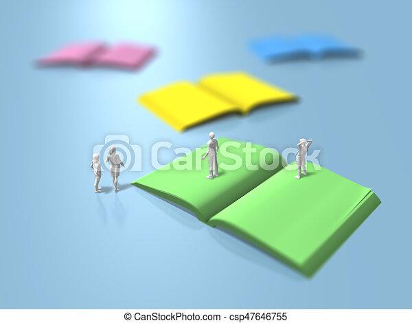 3D illustration of blank books - csp47646755