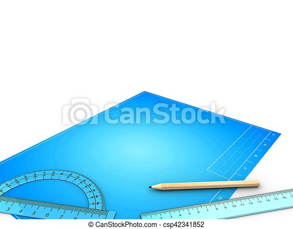 3d illustration of blank over blueprint background with drawing tools - csp42341852
