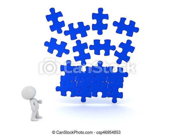 3D illustration of blue puzzle piece falling into place with character looking at them - csp46954853