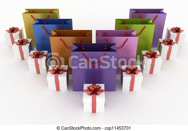 3d illustration of boxes with gifts and multicolor paper bags on a white background - csp11453701