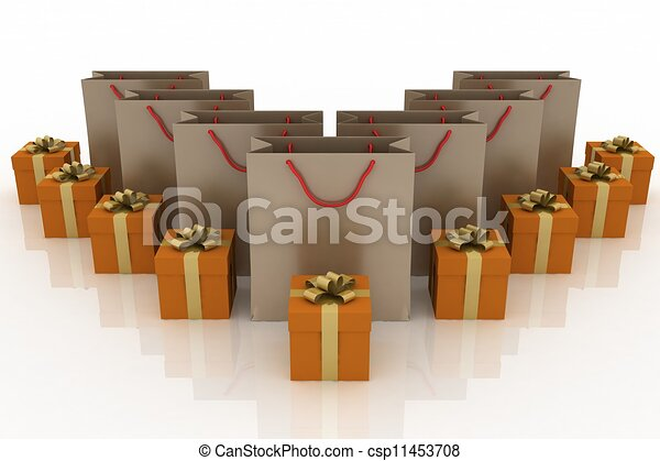 3d illustration of boxes with gifts and paper bags on a white background - csp11453708