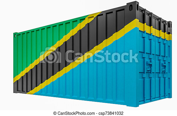 3D Illustration of Cargo Container with Tanzania Flag - csp73841032