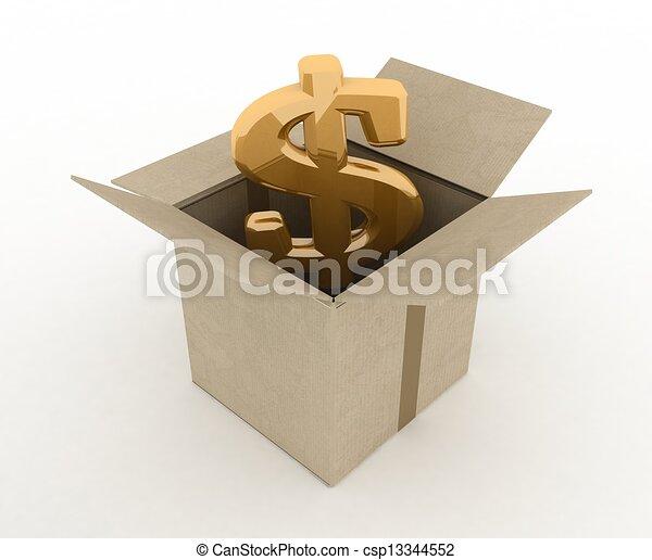 3d illustration of carton box with dollar sign inside - csp13344552