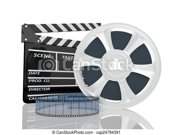 3d illustration of cinema clap and film reel, over white background - csp24784391