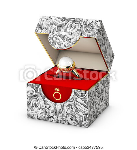 3d illustration of closeup of a jewelry box with elegant stock
