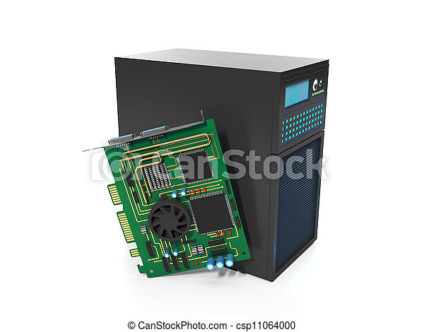 3d illustration of computer technologies. Station and server chips, server repair station - csp11064000