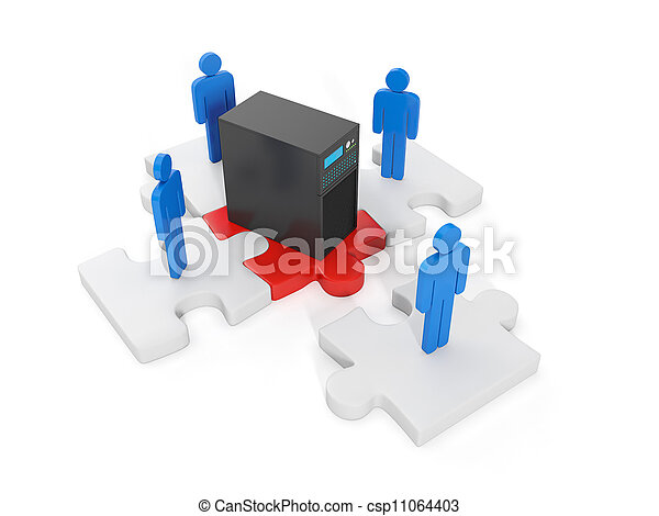 3d illustration of computer technologies. The concept of compound L yudey the overall WLAN - csp11064403