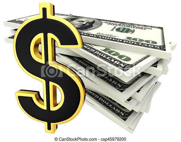 3d illustration of dollar banknotes - csp45979200