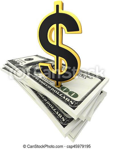 3d illustration of dollar banknotes - csp45979195