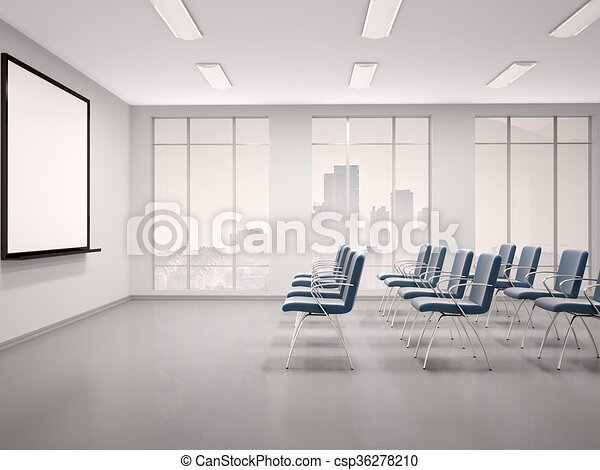 D Illustration Of Empty Conference Room With A Whiteboard For Seminar - Whiteboard conference table