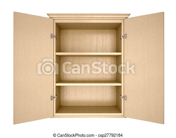 kitchen cabinet clipart. 3d illustration of empty cupboard kitchen cabinet clipart