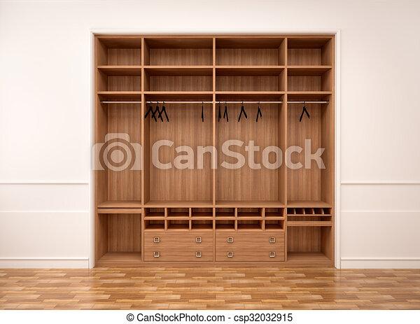 3d Illustration Of Empty Modern Wooden Cabinet & 3d illustration of empty modern wooden cabinet.