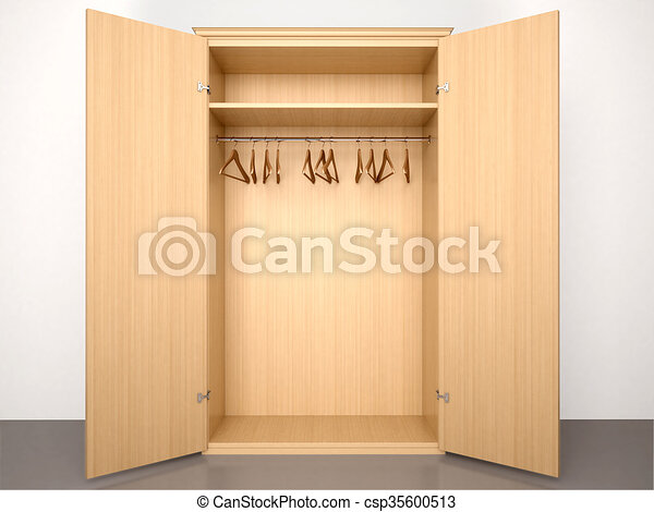 3d Illustration Of Empty Open Wooden Wardrobe With Hangers