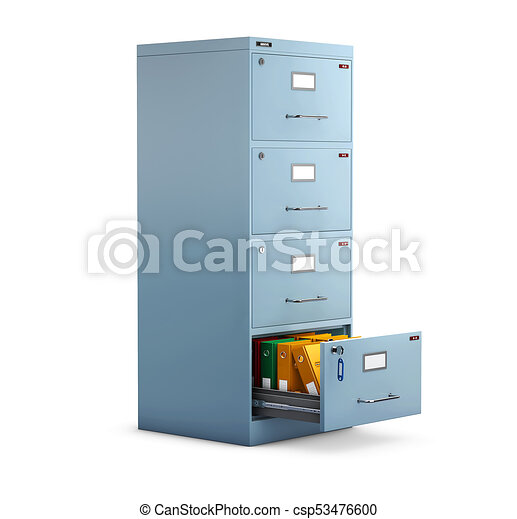 3d Illustration of Filing cabinet with a folders in an open drawer - csp53476600