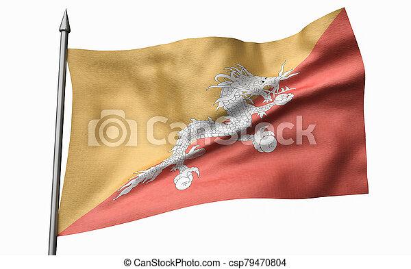 3D Illustration of Flagpole with Bhutan Flag - csp79470804