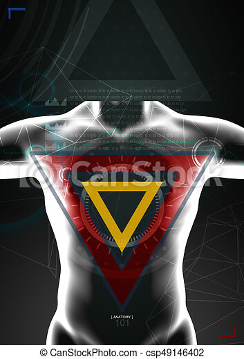 3d illustration of  human body by x- ray on background - csp49146402