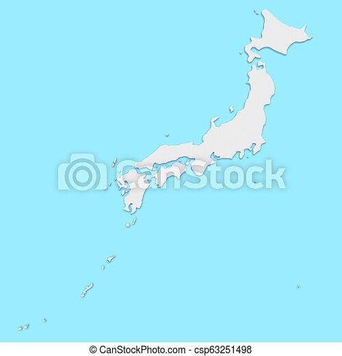3d Illustration of Japan Map On Blue - csp63251498