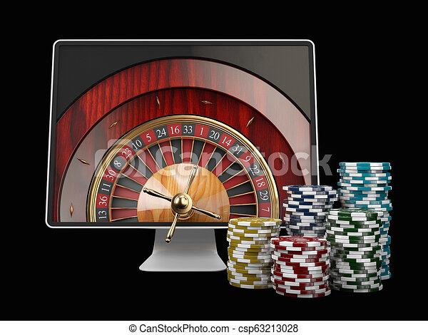 3d illustration of Monitor with casino roulette wheel on screen. Gambling app concepts. - csp63213028