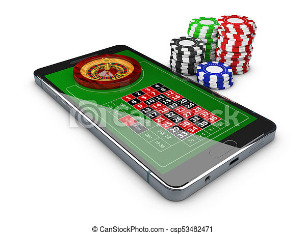 3d Illustration Of Online Games Web With Phone Casino Roulette Wheel Online Play Concept 3d Illustration Of Online Games