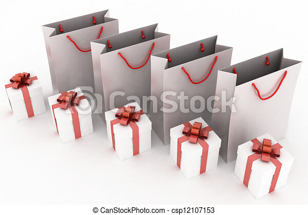 3d illustration of paper bags and boxes with gifts on a white background - csp12107153