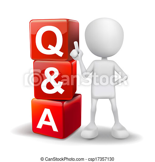 3d illustration of person with word Q&A cubes - csp17357130