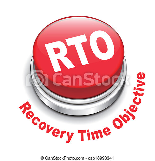 3d illustration of rto recovery time objective button - csp18993341