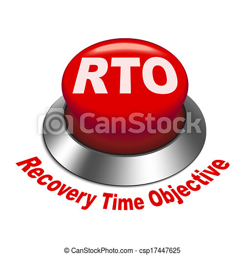 3d illustration of rto recovery time objective button - csp17447625