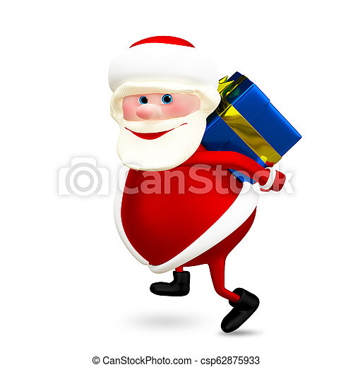 3D Illustration of Santa with a Gift - csp62875933