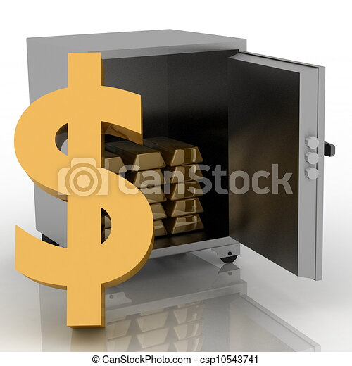 3d illustration of steel safe with dollar sign outside - csp10543741