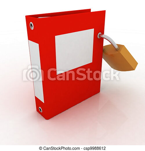 3D illustration of the image of a folder with the lock on a white background - csp9988612