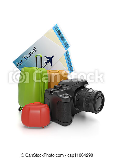 3d illustration of Travel and Leisure. Group suitcases and a camera - csp11064290