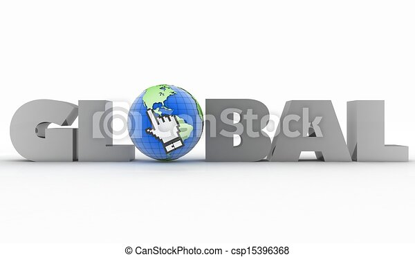 3d illustration of word with a globe and mouse cursor - csp15396368