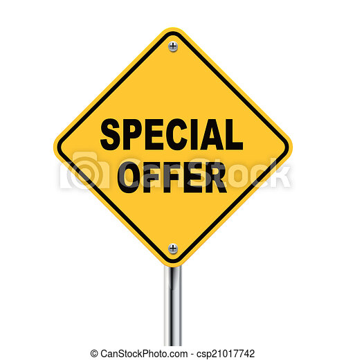 3d illustration of yellow roadsign of special offer - csp21017742