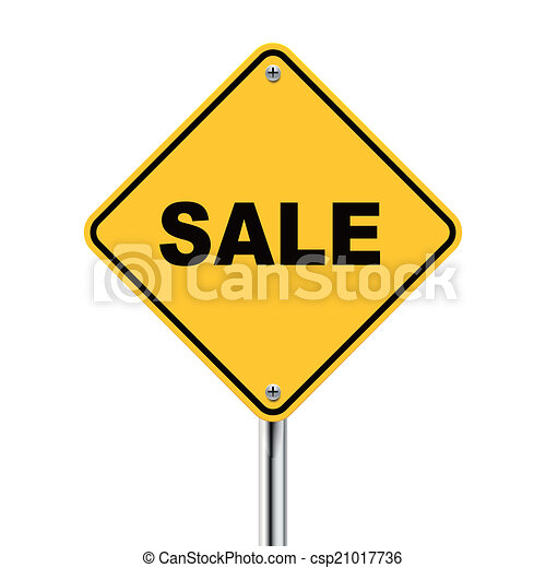 3d illustration of yellow roadsign of sale - csp21017736